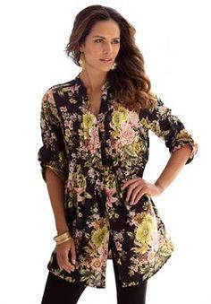 English Floral Bigshirt   Plus Size Shirts & Blouses   Roamans #plussize plus #womens #fashion
