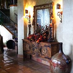Tuscan Decor Check out the tile kicks on the stairs  Love it all