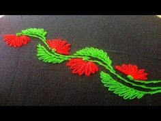 Hand embroidery| lazy daisy stitch Neck design for dresses and blouses - YouTube