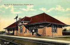 Potsdam New York 1912 New York Central Railroad Depot Antique Vintage Postcard