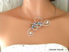 collier alu papillons Yael alu argent plastifié multicolore perle mariage