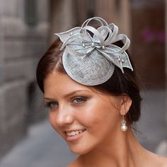 Silver cocktail hat with flower and Swarovski pearls, bridal hat, bridal headpiece, elegant hair accessory. $59.00, via Etsy.