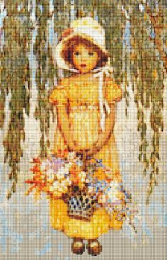 Girl with Posies Counted Cross Stitch by TheArtofCrossStitch, $8.99