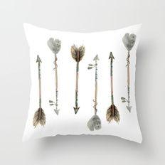 Watercolor fall arrows Throw Pillow
