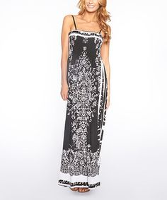 Another great find on #zulily! Black & White Scarf-Print Spaghetti Strap Maxi Dress by Quest #zulilyfinds