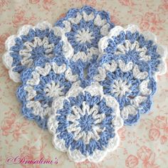 6 Flower Coasters Cornflower Blue & White 100% Cotton Crochet Dining Wedding  #Coaster