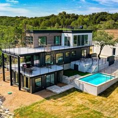 This huge shipping container home in Lago Vista, Texas. Comment below - Shipping Container Tiny House or This! Container Architecture, Architecture Design, Sustainable Architecture, Shipping Container Buildings, Shipping Container Home Designs, Shipping Containers, Shipping Container Cabin, Tiny House Design, Modern House Design
