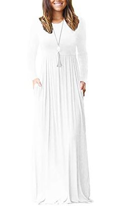 Product Description VIISHOW Women's Long Sleeve Loose Plain Maxi Dresses Casual Long Dresses with Pockets. This classic maxi dress is so easy to wear! White Maxi Dresses, Modest Dresses, Casual Dresses, White Dress, Dresses With Sleeves, Long Dresses, Sleeve Dresses, Fall Dresses, Prom Dresses