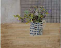 Meadow Flowers in the Studio by Elaine Pamphilon, mixed media on wooden panel, 40 x 50 cm