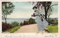 The Kodak girl visits Battery Park. Collage by Liza Cowan.
