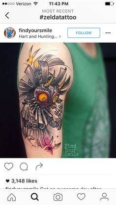 Skull Kid wearing Majora's Mask with Tatl and Tael tattoo