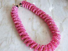 Pink and Ivory Satin Ribbon Spiral Design with Kukui Nut - Graduation, Birthday, Celebration