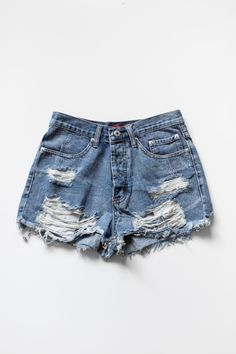 """Vintage inspired high waist denim shorts with frayed and ripped detailing for a """"destroyed"""" look. Button-up fly with 2 front pockets and 2 back pockets. These shorts are fitted and made with non-stret"""