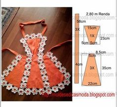 Moldes Moda por Medida: Apron with appliques Childrens Apron Pattern, Childrens Aprons, Sewing Tutorials, Sewing Patterns, Crochet Patterns, Sewing Aprons, Sewing Clothes, Small Sewing Projects, Apron Designs