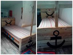 Recycled Pallets Ideas Selection of 62 creative recycled pallet beds, bed frames and headboards, cradles and more, all made from recycled pallets. Those beds are so beautiful that you'll never want to get out of them! Pallet Toddler Bed, Diy Pallet Bed, Pallet Sofa, Pallet Crafts, Diy Pallet Projects, Pallet Benches, Pallet Tables, Carpentry Projects, Outdoor Pallet