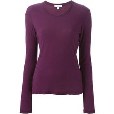 James Perse Longsleeve T-Shirt ($96) ❤ liked on Polyvore featuring tops, t-shirts, purple long sleeve t shirt, longsleeve tee, cotton tee, long sleeve cotton tees and longsleeve t shirts