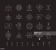 Vector Art : Set of vector trendy geometric icons. Alchemy symbols collection