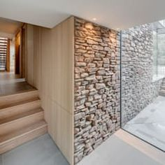 Timber Architecture, Architecture Design, Architecture Today, Sandstone Wall, Modern Properties, Glass Extension, House Entrance, Stone Houses, Modern Buildings