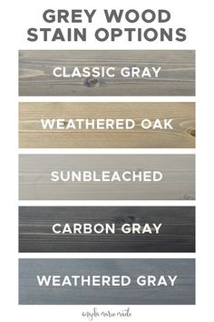 5 Grey Wood Stain Options - Angela Marie Made - - Five grey wood stain options that are affordable and easy to find at your local home improvement store or online. See photos of how each of these grey stains actually look on real wood samples! Grey Deck Stain, Deck Stain Colors, Weathered Grey Stain, Grey Wood, Wood Wood, Wood Colors, Paint Colors, Home Improvement Loans, Home Improvement Projects