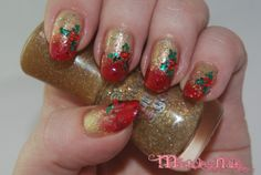 Christmas nails, gold, red, glitter