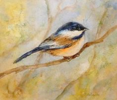 Soft Chickadee Oil Painting Bird Art Animal Portrait Wildlife, painting by artist Debra Sisson