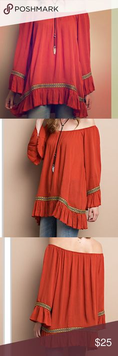 Boho Style Rayon Gauze Bell Sleeve Tunic Boho style bell sleeve Tunic in a rayon gauze with featured jacquard tape detailing. Loose fit and flowing. Pair it with leggings, a bootie or over the knee boots. Very trendy great look. Tops Tunics