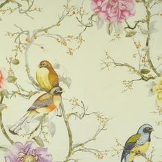 50 Best Birds Aviary Pattern Images Bird Fabric Chairs French