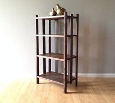 vintage primitive farmhouse bookshelf. retro distressed furniture. beach house home decor.   ReRunRoom   $195.00