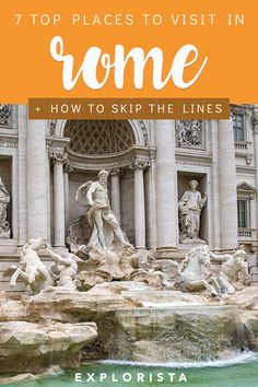 From the Colosseum to the Pantheon, here are the top places to visit in Rome, Italy and HOW to skip the lines and avoid crowds. #thingstodoinrome #insiderrome #rome #romeitaly #italytravel