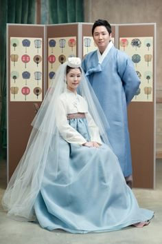 Couple in a fresh blue hanbok gives an unified atmosphere. - Much consideration is taken into account when deciding a couple's hanbok for wedding. Many people avoid wearing a same colored hanbok,. Korean Traditional Dress, Traditional Fashion, Traditional Dresses, Hanbok Wedding, Korea Dress, Modern Hanbok, Oriental Dress, Korean Wedding, Korean Outfits
