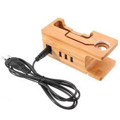 Soporte de bambú del puerto de USB 110V-220V que carga el tenedor de la estación de acoplamiento para el iPhone Apple Watch