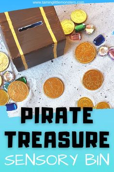 Dig for gold with this fun pirate treasure sensory bin. An easy toddler and preschooler activity that will develop fine motor skills, language and more. #sensory #finemotor #toddler #preschool #pirate Motor Activities, Sensory Activities, Craft Activities For Kids, Educational Activities, Preschool Activities, Sensory Table, Sensory Bins, Sensory Play, Pirate Treasure