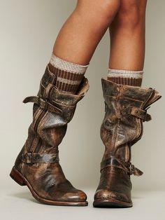 Free People:Bed Stu ~Cafe Racer Boot Distressed Black 7   NEW~$260 #BEDSTU #FashionMidCalf