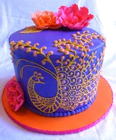 Mehndi Peacock Cake By passingmantle on CakeCentral.com