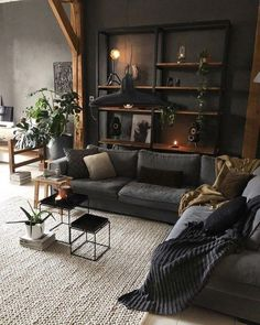 #LeatherLivingRoomSet Dark Living Rooms, My Living Room, Home And Living, Small Living, Modern Living Room Decor, Dark Rooms, Black Living Room Furniture, Cool Living Room Ideas, Gothic Living Rooms