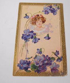 Vintage Postcard Greeting Divided Back Embossed Violets Unused Unposted    5065 #Friendship
