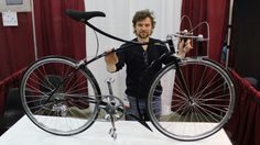 Cykelmageren's Rasmus Gjesing with his hard-to-miss bike at NAHBS in Louisville (Photo: Be...