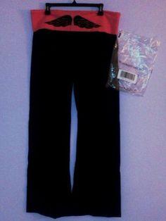 VS MostLoved Yoga Pant Viva La Pink with Black Wings Size XL Regular