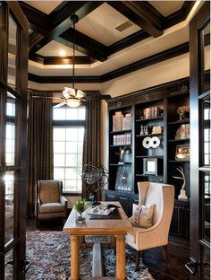 Incredible Home Office!!  Design by Whitman Interiors - We are Blessed to be their Lighting Showroom of choice!!  LOVE this Quorum Mendocino ceiling fan and how the uplight shows off the beamwork on the ceiling!!
