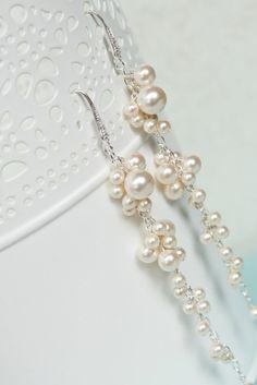 Ivory Pearl Wedding Earrings, Pearl Bridal Earrings, Pearl Cluster Bridal Earrings, Wedding Jewelry