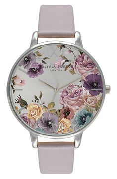 Free shipping and returns on Olivia Burton 'Parlour' Leather Strap Watch, 38mm at Nordstrom.com. Ethereal blossoms sprawl over the sunray dial of a charming round watch accented with a highly polished case and a lightly textured leather strap.