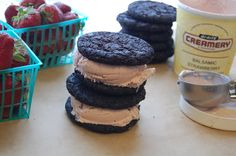 Balsamic Strawberry Ice Cream and Dark Chocolate Cookie Sandwiches..the recipe for the ice cream!!