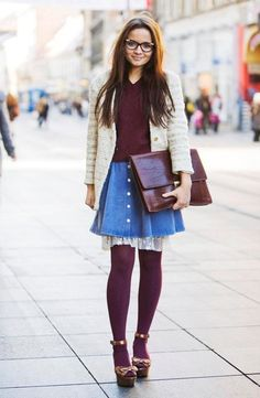 layer the skirt and wear colored tights! H&m Heels, I Dress, Play Dress, Topshop Skirts, Colored Tights, White Cardigan, Playing Dress Up, Passion For Fashion, Fall Outfits
