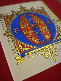 "Medieval style Monogram ""M"". Gouache colors and handmade goldleaf 23K, by Ioannis P. Vlazakis"