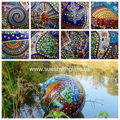 Floating Ball Stained Glass Mosaic by Sue Smith Glass