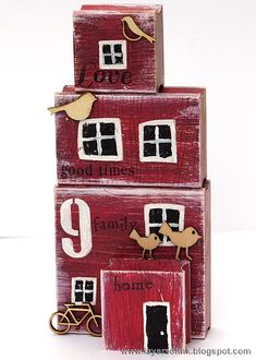 Red Mixed Media House Tutorial