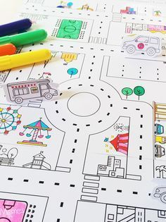 city map printable- great for kids free play Maps For Kids, Diy For Kids, Crafts For Kids, Diy And Crafts, Paper Crafts, Poster S, Diy Toys, Children's Toys, Colouring Pages
