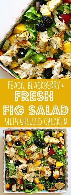 Peach, Blackberry and Fresh Fig Salad and dressing with Grilled Chicken Recipe Rainbow Delicious. One of may favorite salad  recipes, so delicious and simple to make! If it is not quite fig season yet you can use dried figs instead! Make the dressing with flavored olive oils for an extra kick. Feel free to substitute with goat cheese or leave out the cheese & chicken altogether for a vegan salad.