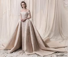 krikor jabotian spring 2018 bridal off the shoulder straight across neck full embellishment champagne gold princess ball gown a line wedding dress royal train (06) mv -- Krikor Jabotian Spring 2018 Wedding Dresses