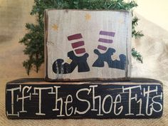 Primitive Country Witch Boots If the Shoe Fits Halloween Shelf Sitter Block Set #PrimtiiveCountry